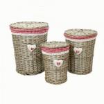 Set 3 cutii din salcie cu textil 570x490x400 mm,  JW2-10158